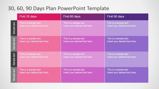 PowerPoint Table Diagram for 30 60 90 Days Plan Presentation