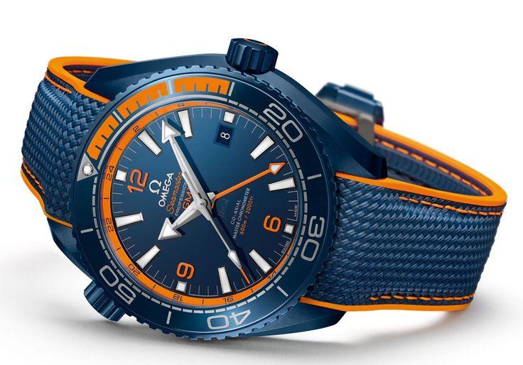 Omega Seamaster Planet Ocean Big Blue - blue and orange detail - Perpetuelle