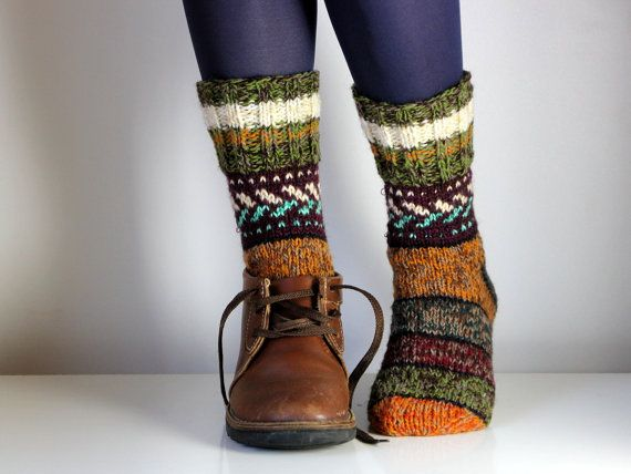 Hand knit wool socks - from baltic frog