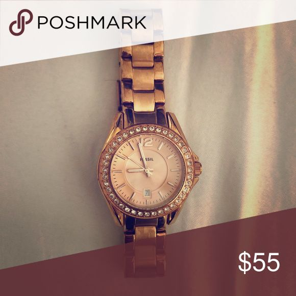 Rose gold Fossil watch Price purchased for is estimated as I received it as a gift. Needs a battery. Worn only a handful of times. Rose gold in color. Fossil Jewelry Bracelets
