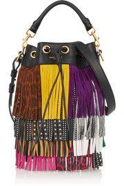 Saint LaurentEmmanuelle small fringed textured-leather shoulder bag