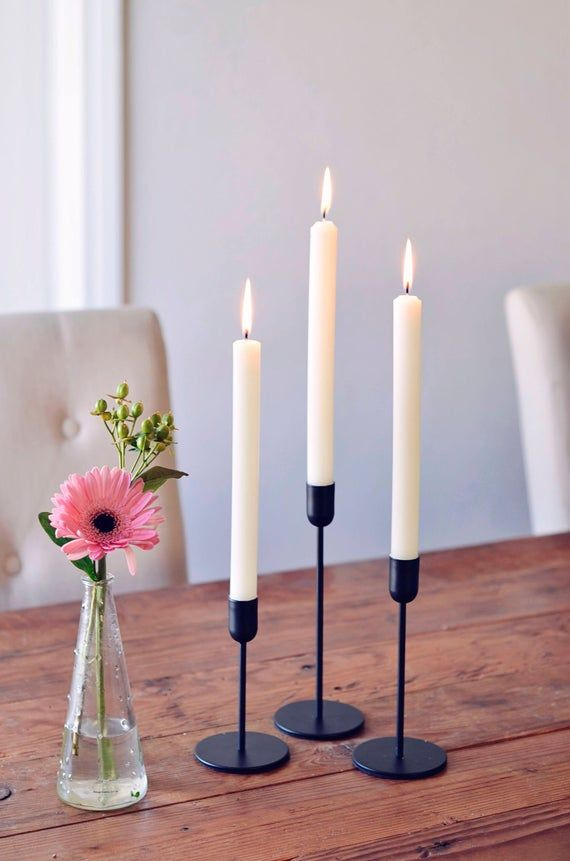 Modern Scandinavian Minimalist Tapered Black Candle Holder 3 In 2020 Black Candle Holders Black Candles Black Candlesticks