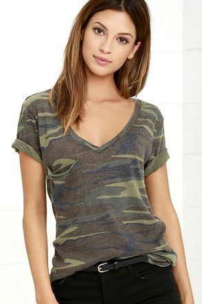 Cute Green Camo Print Top - Print Tee - V-Neck Tee - $35.00