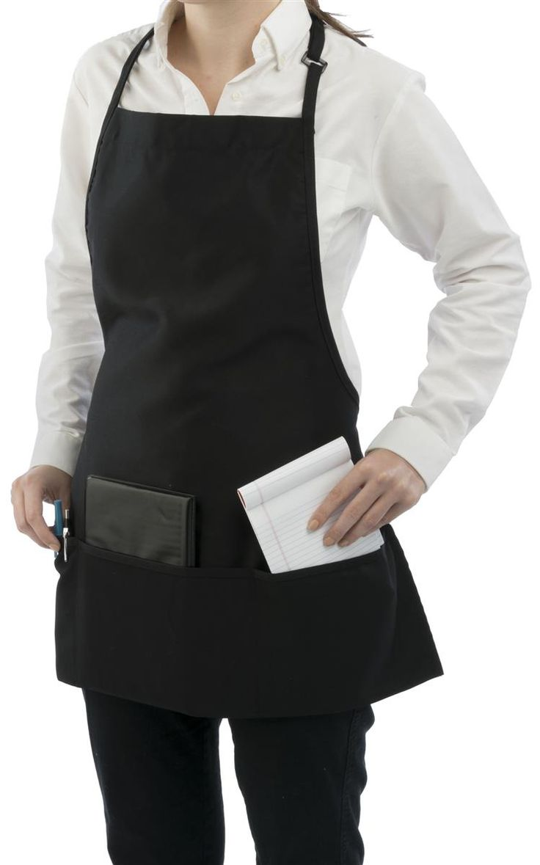 "26"" Long Bib Apron, Full Coverage, Adjustable Neck Strap, Waist Ties, 3 Pockets-Black"