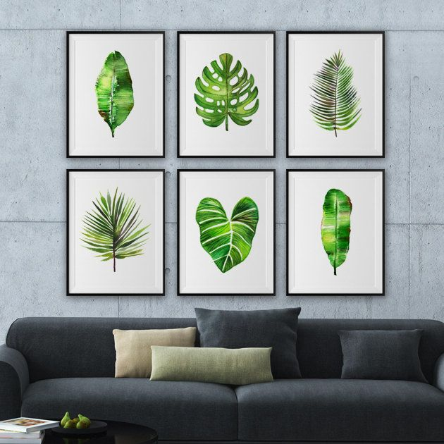 Leaf art, Large art Watercolor palm leaf, Botanical print set, Nature print, Monstera illustration, Banana leaf, Fan palm This set of 6 leave art prints will make a tropical rainforest atmosphere for your room. They were painted by me, Tinarosa Tam. I like minimal style painting, clean, simple and graceful. This listing includes: 1. Areca palm 2. Banana leaf #1 3. Banana leaf #2 4. Fan palm 5. Monstera 6. Philodendron gloriosum SMALL & MEDIUM SIZE PRINT • 4x6 / 5x7 / 8x10 &#x...