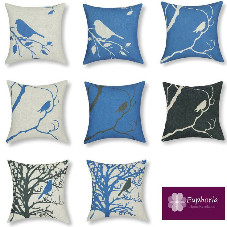 Euphoria Blue Vintage Bed Cushion Covers Shadow Tree Cushions Bird cushion shell