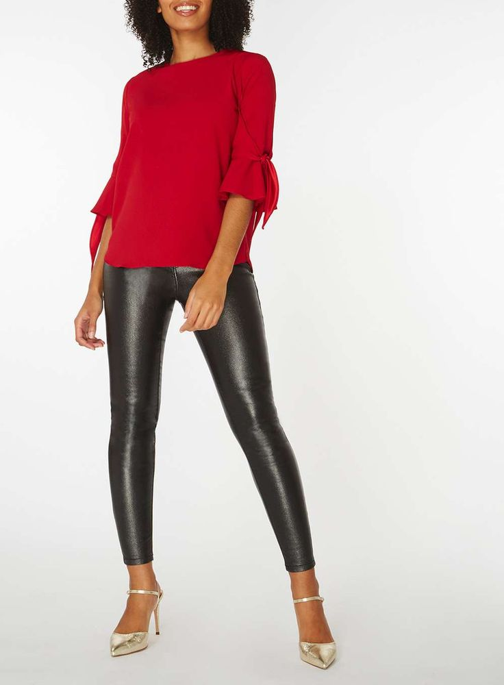 Womens Red Tie Detail T-Shirt- Red