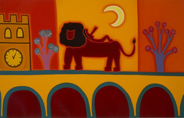 The Lion From Fulham Broadway, 2008. Oil on linen, 72 x 112 cm. Exhibition: De los Alpes a los Andes. Private collection. #painting #oilpainting #finearts #contemporaryart #cristinarodriguez