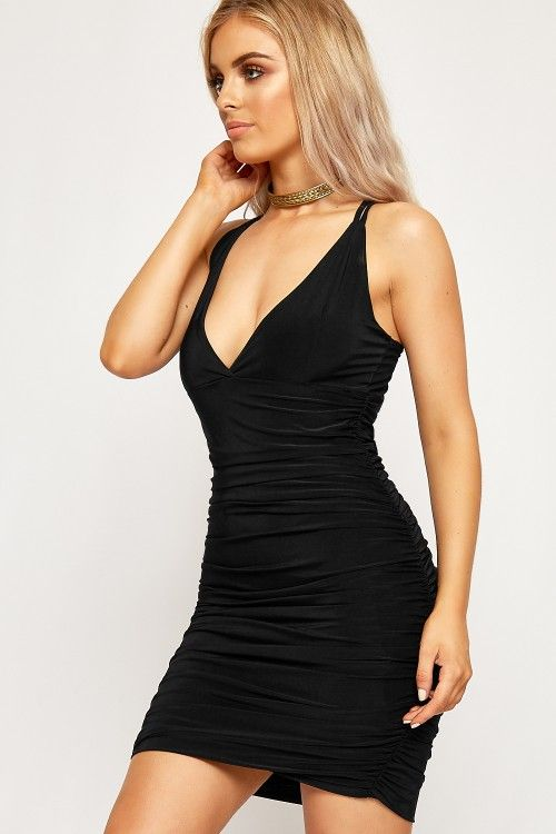 Natalie Strappy Slinky Ruched Bodycon Dress