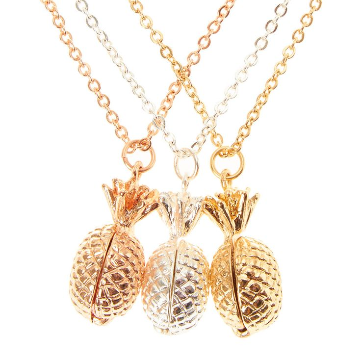 <P>Pretty pineapples for you and your friends. Three best friend necklaces in silver, gold and rose gold with pineapple locket pendants.</P><UL><LI>Silver and gold tone finish<LI>Best friend jewelry<LI>Lobster clasp fastening<LI>Set of 3</LI></UL>