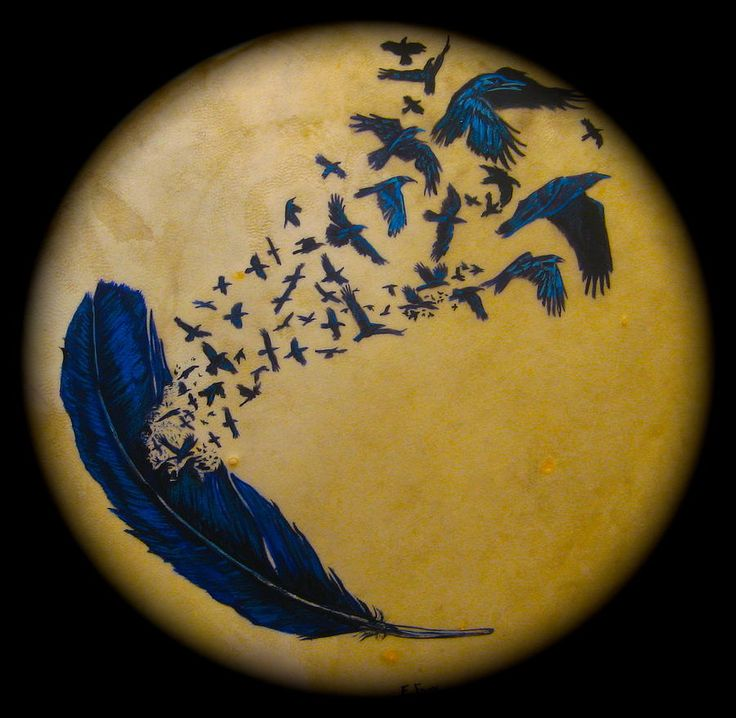 Raven Feather Drum Mixed Media  - Raven Feather Drum Fine Art Print