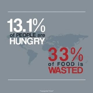 World Hunger: 13.1% of people are hungry; 33% of food is wasted