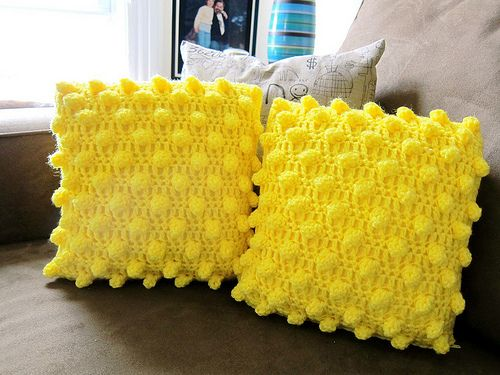 Crochet popcorn pillow. Inspiration only.