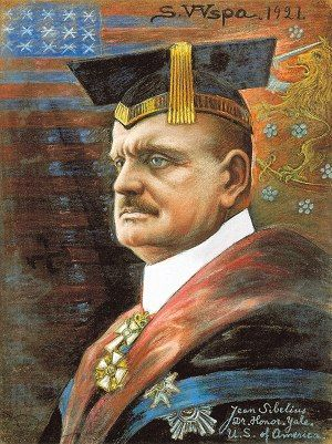 Jean Sibelius [born Johan Sibelius] (1865-1957), painting (1921), by Sigurd Wettenhovi-Aspa [born Sigurd Wetterhoff-Asp] (1870-1946).