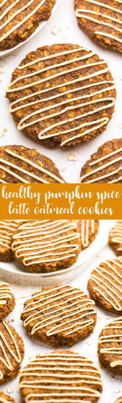 {HEALTHY!} Pumpkin Spice Latte Oatmeal Cookies -- only 86 calories! They taste AMAZING! Just like a Starbucks PSL! So easy to make too! Which is slightly dangerous... Because they're SO addictive!!