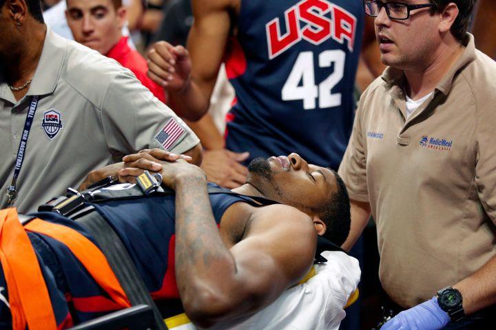 Paul George suffers horrific leg injury duringscrimmage