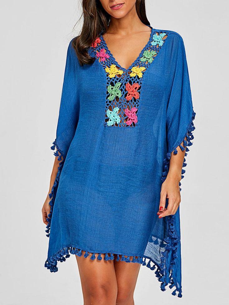 Tassel Trim Crochet Knit Cover Up – blau eine Größe   – Swim