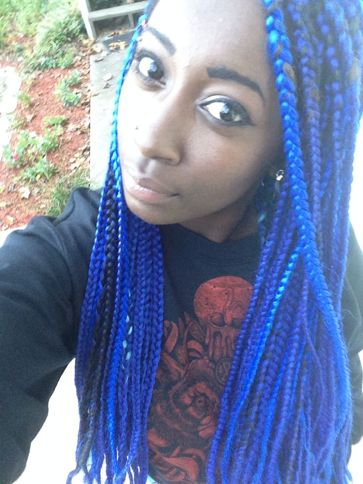 25 Crochet Box Braids Hairstyles for Black Women   Page 2 ...  Blue Black Box Braids