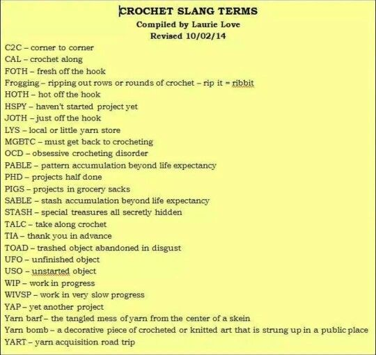 Crocheting Vocabulary : ... about Crochet on Pinterest Online diary, Crochet lace and Charts