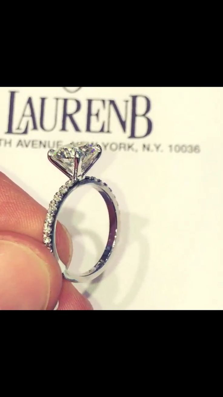 2 carat round solitaire 4 prong pave band