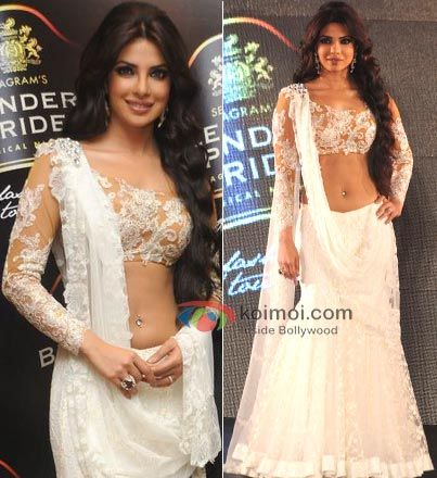 Priyanka Chopra looked absolutely gorgeous in a white lace Neeta Lulla dress.