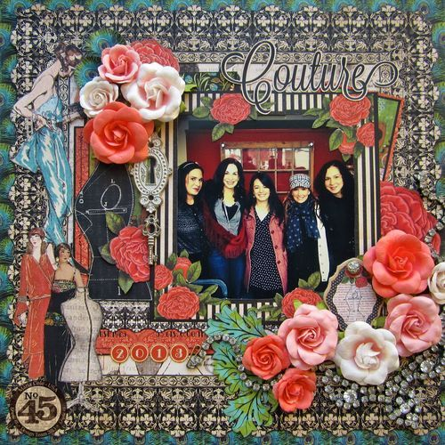 Absolutely adore this beautiful Couture layout by Maria Cole! And the photo features Charee, Diane, Maria, Denise Johnson, and Aimee of the G45 team! Amazing #graphic45 #layouts