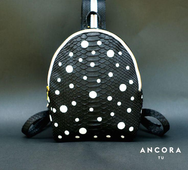 Python leather Backpack. Designer handmade leather handbag. Dots Backpack. Black leather backpack. Black and White. ブラックレザーのバックパック by StudioANTU on Etsy