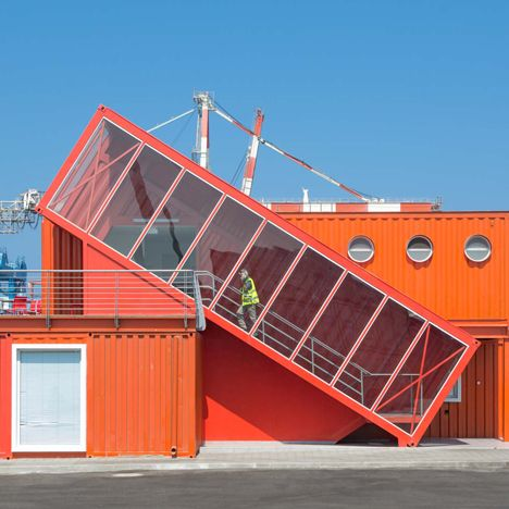 Angled shipping container houses a staircase for Israeli port office by Potash Architects