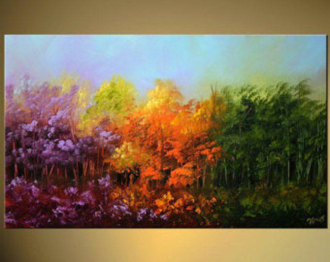 Árboles florecientes del paisaje pintura Original abstractos modernos pintura acrílica con textura por Osnat - confeccionar - 50