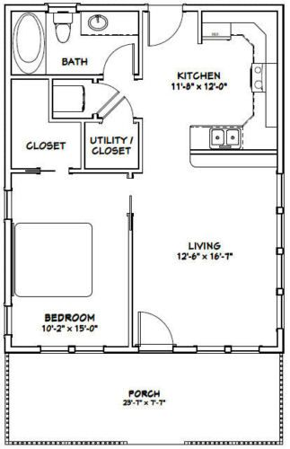 24x30 House 1 Bedroom 1 Bath Pdf Floor Plan 720