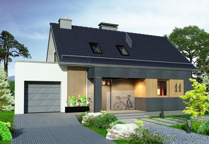 Projekt domu z poddaszem Domidea 60G z garażem 1-stanowiskowym, dachem dwuspadowym oraz tarasem i wykuszem.