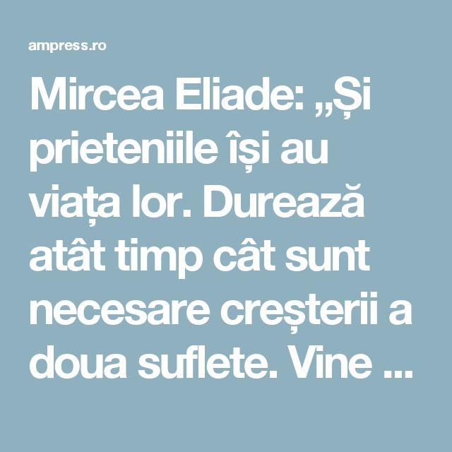 """Mircea Eliade: """"Și prieteniile își au viața lor. Durează atât timp cât sunt necesare creșterii a doua suflete. Vine un timp când prietenia unui anumit om e o povară... - AM Press"""