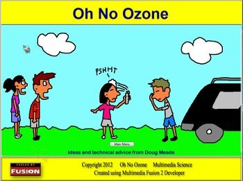 The Oh No Ozone software explains the different types of ultraviolet radiation and their effects as they strike the earth and explains in step by step detail the chemistry of ozone production and depletion due to CFCs.  Each step of the chemistry is illustrated with a simulation showing how the molecules and ultraviolet radiation react.