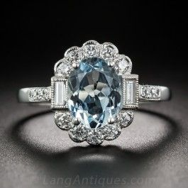 Vintage Style Aquamarine and Diamond Ring  - Vintage Engagement Rings