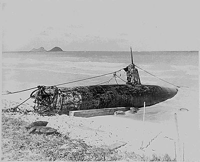 Midget Japanese Submarine beached at Bellows Field, Hawaii after the attack on Pearl Harbor (photo taken Dec. 7, 1941).