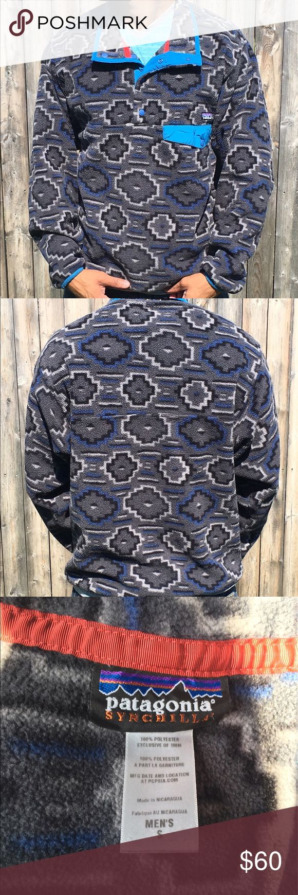 Patagonia Synchilla Aztec Tribal fleece Pullover Gray / Blue Aztec pattern. Snap close chest pocket with small Patagonia patch over it. Very Good condition. It's a men's but it a unisex pattern Patagonia Jackets & Coats Lightweight & Shirt Jackets