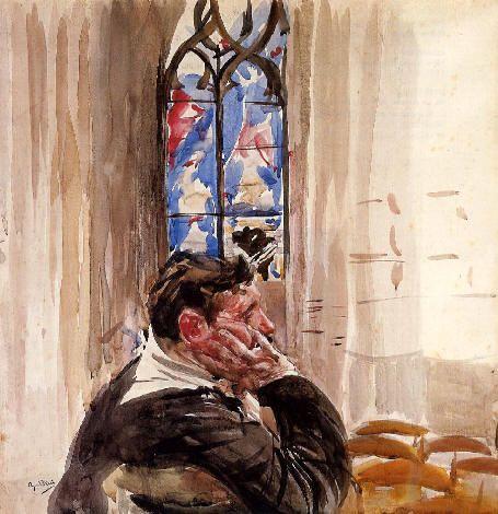 Giovanni Boldini, Ritratto di uomo in Chiesa, 1900. Collezione privata