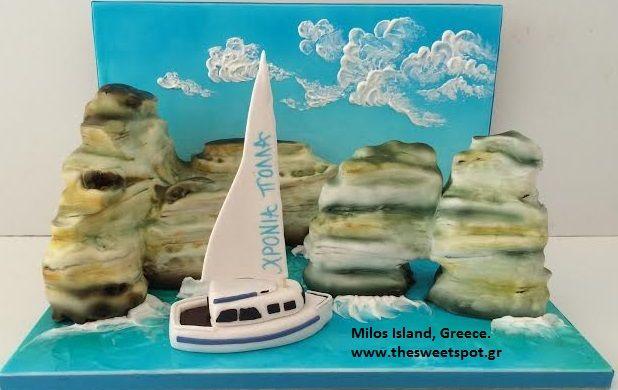 #Milos #island, #Greece #sugarpaste #cake #thesweetspotgr www.thesweetspot.gr
