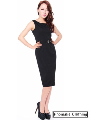 Black Ponte Belted Sleeveless Pencil Dress by Chic Star – Anomalie Clothing - This classic pencil dress features ponte stretch fabric, a belt; slit in the back for ease of movement; and discreet side zip. - Alternative Corporate Goth
