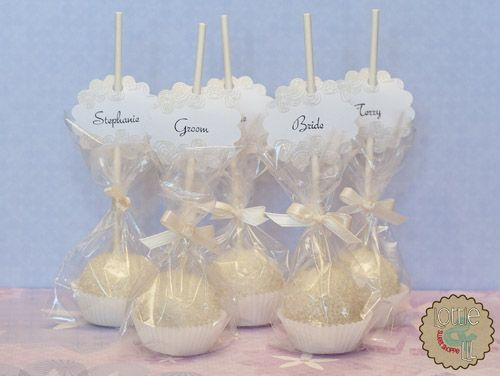 White Cake Pop Place Cards