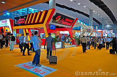 Busy visitors at the electronics pavilion at china import and export fair  also knows as canton fair