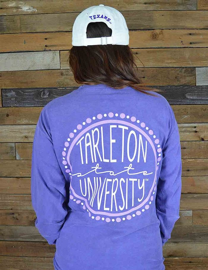 Fall in love with this Tarleton State Briana Circle long sleeve tee shirt. Perfect for TSU game day! Go Texans!