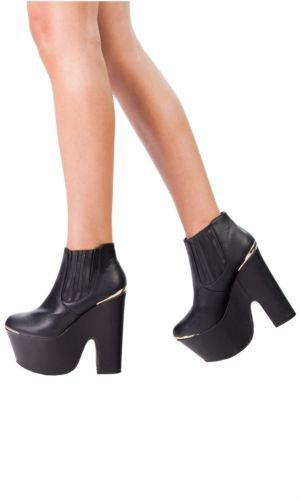 Hidden Fashion Womens Faux Leather Metal Insert Chunky Platform Ankle Boots   eBay