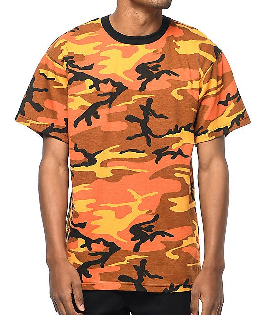 eaeaf8600b7 The Rothco Savage Orange Camo tee features a bright and bold orange camo  print throughout with a black ribbed crew neck collar. Orange you glad I  didn t say ...