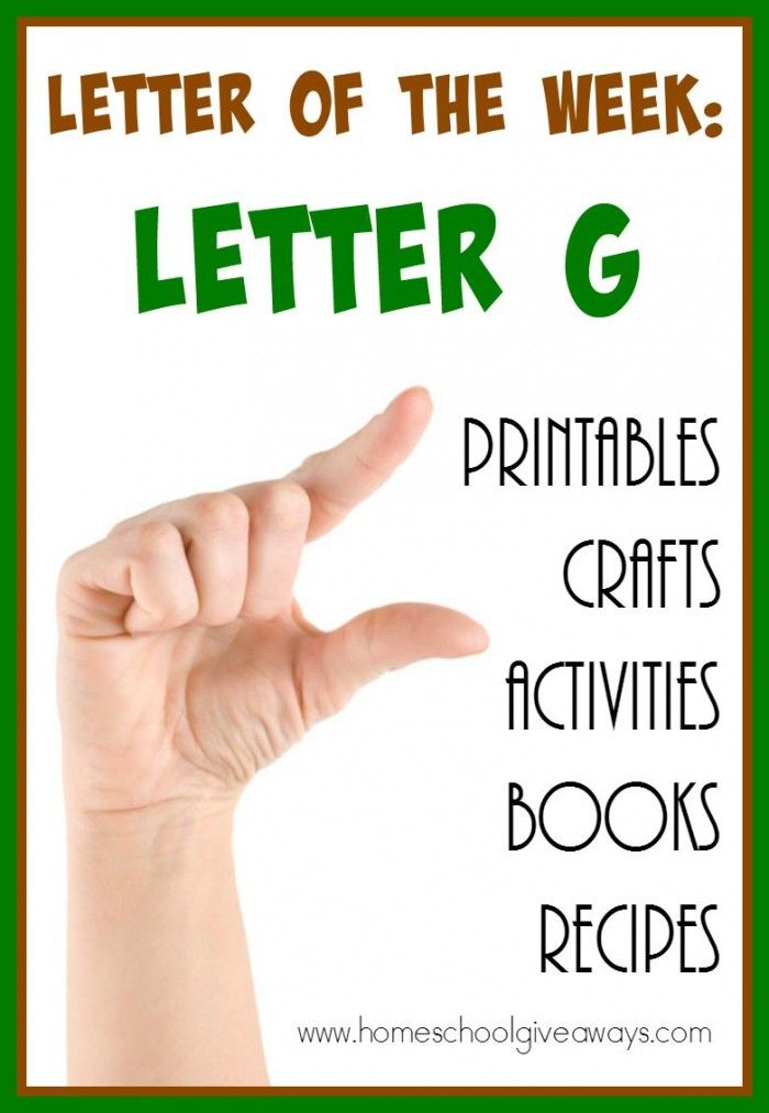 Everything you need for teaching the Letter Gg to your little ones! From {free printables} to crafts, activities, recipes, read alouds and MORE! :: www.homeschoolgiveaways.com
