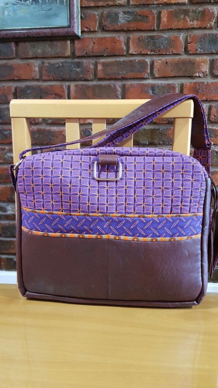 Handmade handbag brown leather and purple shweshwe fabric
