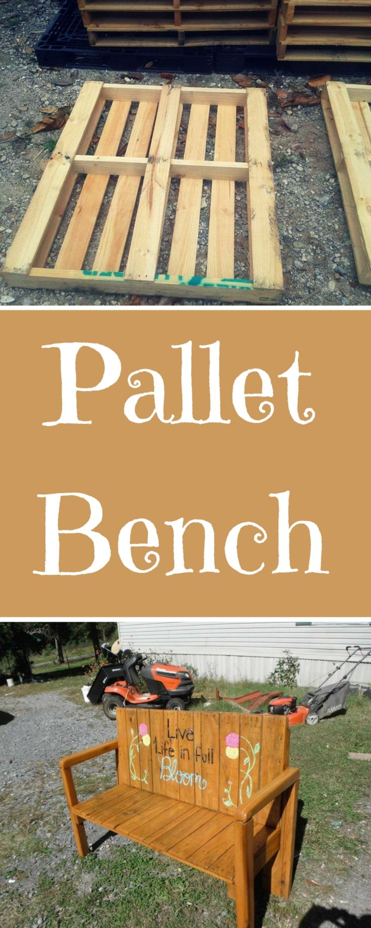 Before and After: Upcycled Pallet #Bench - 11 Unique Ideas - 101 Pallet Ideas