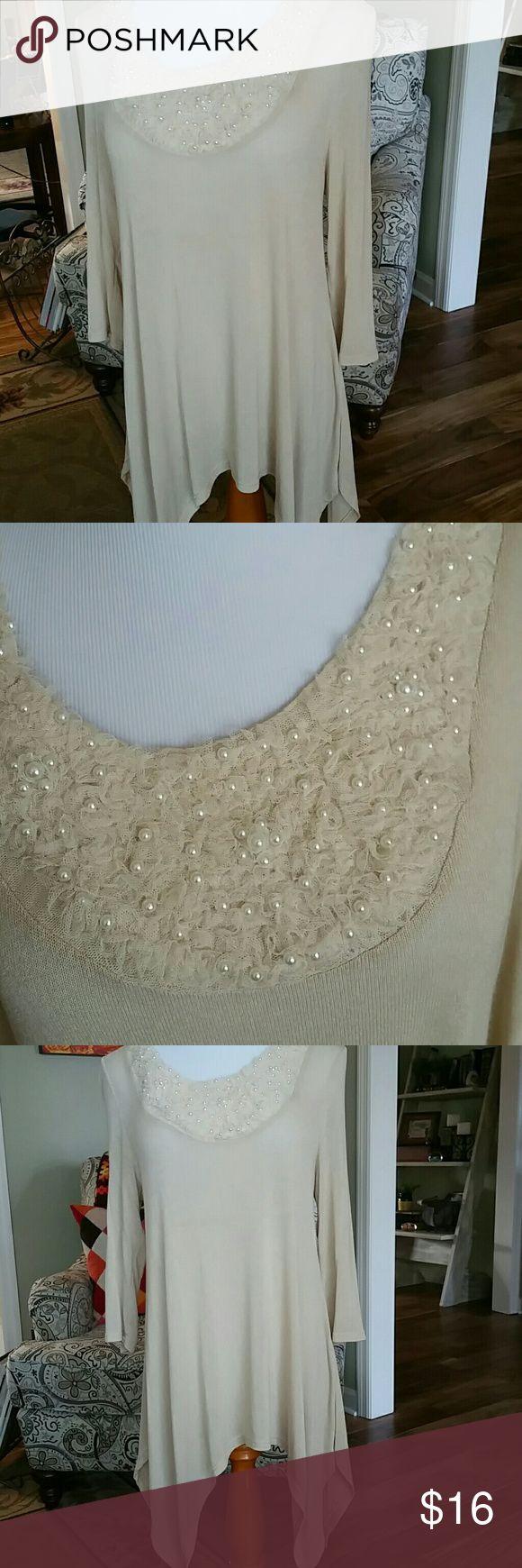 cream embellished hilow top cream sheer knit hilow top