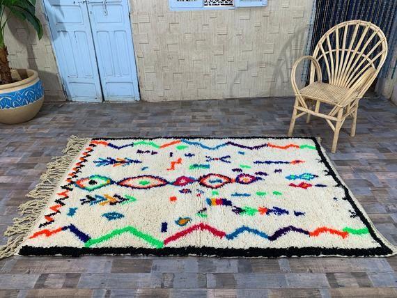 Wool Berber Carpet 4 4x7 Morocco Rug Handmade Moroccan Azilal Etsy In 2020 Berber Carpet Boho Rug Azilal Rug