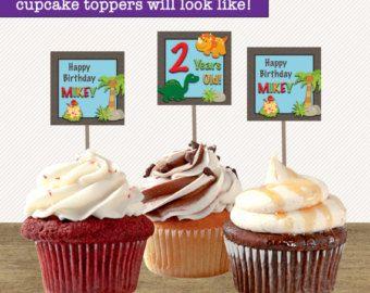 12 dinosauro Cupcake Toppers compleanno di dinosauro